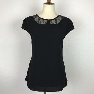 Ann Taylor Loft Lace Trim Button Back Top